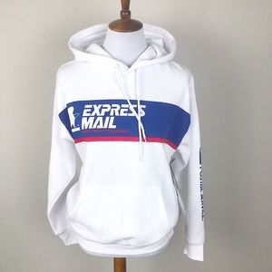 Forever 21 x USPS white express mail hoodie Sm